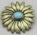 Click here to enlarge image and see more about item JVCPL8: Brass Daisy with Faux Turquoise Center