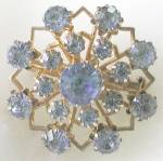 Click here to enlarge image and see more about item JVCS42: Vintage Coro Blue Rhinestone Snowflake Pin