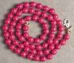 Click here to enlarge image and see more about item JVCS58: Vintage Monet Hand Knotted Red Glass Beaded Necklace