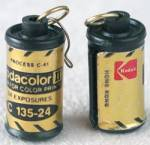 Click here to enlarge image and see more about item JVE1: Vintage Mini Kodak Film Canister Earrings