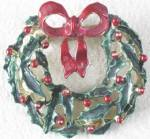 Click here to enlarge image and see more about item JVH15: Vintage Christmas Wreath Pin