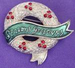Click here to enlarge image and see more about item JVH3: Vintage Gerry's Christmas Wreath Pin