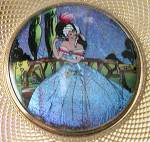 Click here to enlarge image and see more about item JVICOM10: Vintage Stratton Butterfly Wing Lady Compact