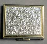 Click here to enlarge image and see more about item JVICOM6: Vintage Silver Glitter Compact