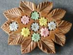 Vintage Wooden Leaves with Inset Glass Flowers
