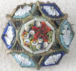 Vintage Mosaic Flower & Fan Pin Signed Italy