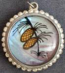 Click here to enlarge image and see more about item JVPL73: Vintage Butterfly Wing Reversible Necklace/Pendant