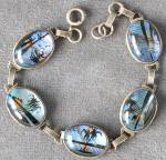 Click here to enlarge image and see more about item JVPL84: Vintage Hoffman Sterling Silver Butterfly Wing Bracelet