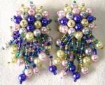 Click here to enlarge image and see more about item JVE11: Vintage Clip Dangle Beaded Earrings