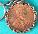 Vintage Large Lincoln Penny 1965 Keychain