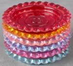 Click here to enlarge image and see more about item KC6: Vintage Jewel Tone Plastic Coasters Set of 6