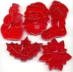 Click here to enlarge image and see more about item KCO82: Christmas Red Cookie Cutters Set of 5