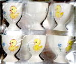 Vintage Chick & Flower Egg Cups Set of 6
