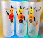 Click here to enlarge image and see more about item KGD115: Hey Wait For Me Frosted Tom Collins Drinking Glasses