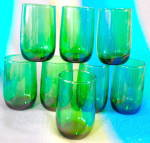 Vintage Green Glasses Set of 8
