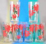 Vintage Poinsettia Drinking Glass Set of 6