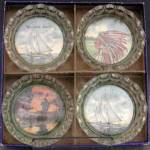 Click here to enlarge image and see more about item KGEN23: Vintage Set of 4 Glass Coasters
