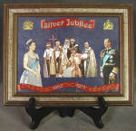 Click here to enlarge image and see more about item MEMVCE6: Vintage Framed Silver Jubilee Queen Elizabeth