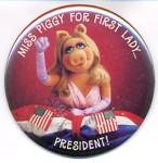 Click here to enlarge image and see more about item MTV60: Vintage Hallmark Pin or Picture of Miss Piggy with Flag