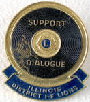 Click here to enlarge image and see more about item MVA36: Vintage Illinois I-F Lions International Pin
