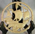 Click here to enlarge image and see more about item MVBR3: Brass Galleon Plaque