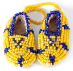 Click here to enlarge image and see more about item NAP15: Vintage Minature Beaded Leather Moccasins