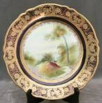 Click here to enlarge image and see more about item NIP8: Vintage Nippon Deer Plate with Cobalt
