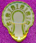 Click here to enlarge image and see more about item NP17: Vintage Green & Gold Ladle Rest