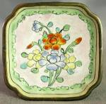 Click here to enlarge image and see more about item OAVCL8: Vintage Enamel Ware Orange Flower Dish