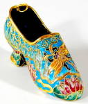 Click here to enlarge image and see more about item OF51: Enamel Shoe Ornament