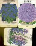 Click here to enlarge image and see more about item P34:  Vintage Flower Seed Packets