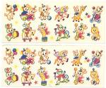 Click here to enlarge image and see more about item PD40: Vintage Meyercord  Tiny Animals Decal Set of 2 Sheets
