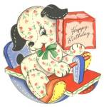 Click here to enlarge image and see more about item PEBC1: Vintage: Birthday Puppy
