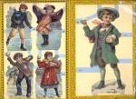 Click here to enlarge image and see more about item PEVG30: Die Cuts of Children Playing in Winter Set of 3 Sheets