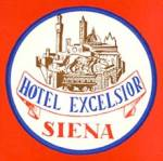 Click here to enlarge image and see more about item PEVLL106: Vintage Luggage Label: Hotel Excelsior Siena