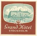 Vintage Luggage Label: Grand Hotel Stockholm