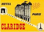 Vintage Luggage Label: Hotel Claridge Paris