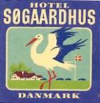Click here to enlarge image and see more about item PEVLL322: Vintage Luggage Label: Hotel Sogaardhus Danmark