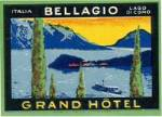 Vintage Luggage Label: Grand Hotel Bellagio Italia