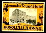 Vintage Luggage Label: Alexander Young Hotel Honolulu