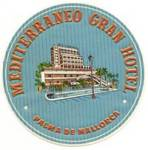 Click here to enlarge image and see more about item PEVLL70: Vintage Luggage Label: Mediterraneo Gran Hotel