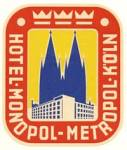Click here to enlarge image and see more about item PEVLL78: Vintage Luggage Label: Hotel Monopol Metropol Koln