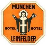 Click here to enlarge image and see more about item PEVLL92: Vintage Luggage Label: Hotel Munchen Letnfelder