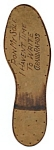 Click here to enlarge image and see more about item PL58: Vintage Leather Postcard Shaped like Sole of Shoe