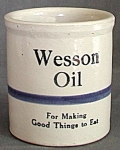 Click here to enlarge image and see more about item PPVPC4: Vintage Wesson Oil Crock