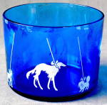 Click here to enlarge image and see more about item BREWG62: Hazel Atlas Blue/White Ice Bucket In The Dog Show
