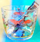 Click here to enlarge image and see more about item REWG64: Vintage Glass Ice Bucket Pheasant Hunting Design
