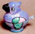 Click here to enlarge image and see more about item SF8: Lusterware Bird  Salt and Condiment