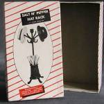 Click here to enlarge image and see more about item SPFIG29: Vintage Empty Box for Hat Rack Salt & Pepper