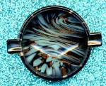 Vintage Murano Black & Aqua Art Glass Ashtray